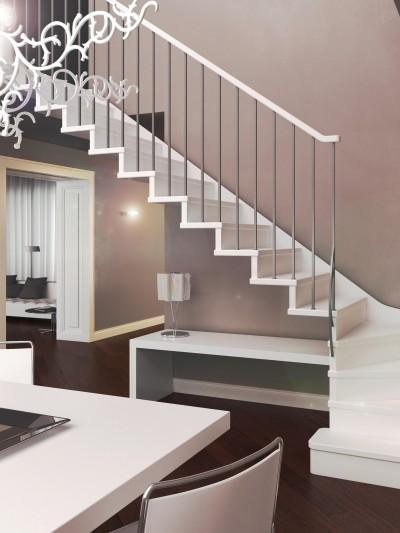 escalera de madera, escalera lacada, escalera de madera con barandilla metálica, barandilla metálica con pasamanos de madera,escalera con estructura metálica