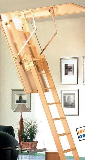 escalera escamoteable de madera, escalera plegable de madera, escalera madera 2 tramos, escalera para techo,